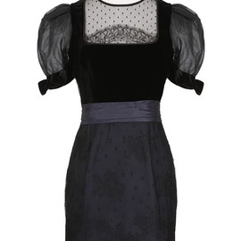 VALENTINO - Valentino black and midnight velvet, lace and silk dress
