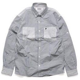 INTERFACE - [ CRAZY STRIPE ROLL UP SHIRTS ] - NAVY