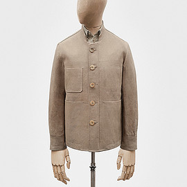 S.E.H Kelly - Work jacket in malt cotton-linen hopsack