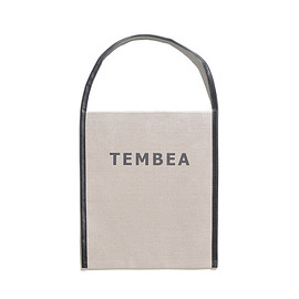 TEMBEA - Big Logo Tote-Linen-Natural×Black