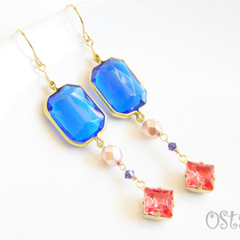 Ostara - Square Sapphire Dangle Earrings