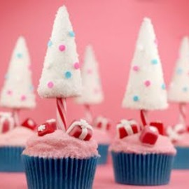 Christmas cupcake - Candy Cane Christmas Trees