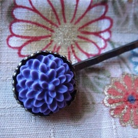 Luulla - 10x Antique Bronze Bobby Pins with 15mm Setting Base and 10x Pom Pom Cabs