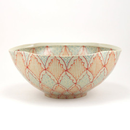 Dawn Dishaw Ceramics - Ceramic Serving Bowl with Red, Orange and Turquoise Pattern