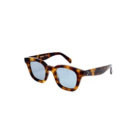 CELINE - Sacha Sunglasses in Havana Acetate with Flat Blue Mineral Glass Lenses