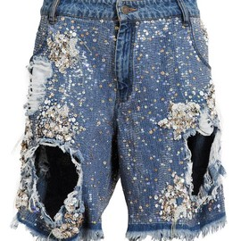ASHISH - SEQUIN EMBELLISHED DENIM SHORTS