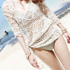 Half Sleeve Fishnet Crochet Knit Blouse Beach Cover Up Swimwear