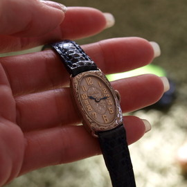 GRUEN - antique ladies watch with blue steel