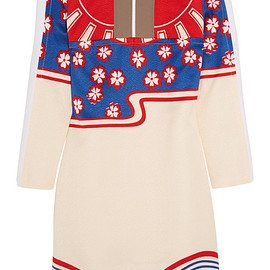 CARVEN - SS2015 Crepe-paneled printed cloqué mini dress