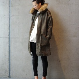 note et silence - military back satin fooded coat(モッズコート)|カーキ