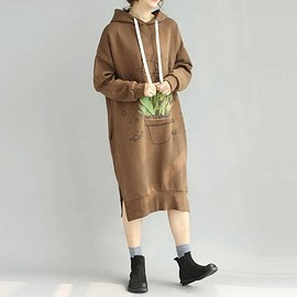 dress - coffee color/ black hooded Long dress large size pullover dress long sleeves dress