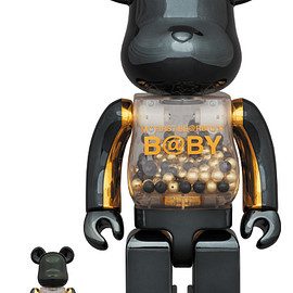 MEDICOM TOY - MY FIRST BE@RBRICK INNERSECT BLACK & GOLD Ver.100% & 400%