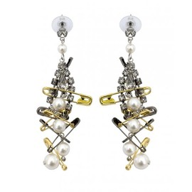 Tom Binns - WHITE CRYSTAL AND PEARL EARRINGS WITH TWO TONE SAFETY PINS