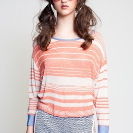 Love Zooey - Striped Dolman with Denim Accents