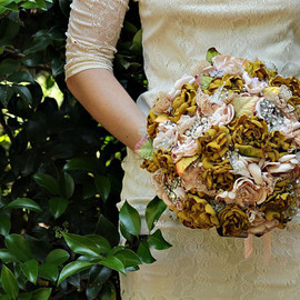 Fabric Flower and Brooch Bouquet