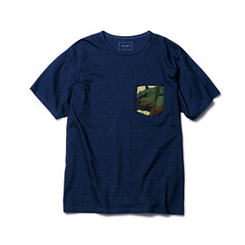 SOPHNET. - FABRIC MIX INDIGO POCKET TEE