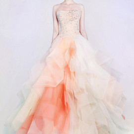 orange peach lace tulle dress