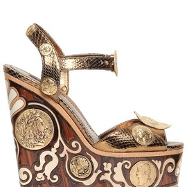 DOLCE&GABBANA - SS2014 150MM AYERS INLAID WOODEN WEDGES