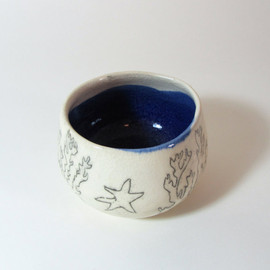 Seascape ceramic bowl for use or decoration