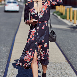 Free People - Free People Miranda Printed Midi Dress
