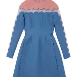 VALENTINO - Long Sleeved Scallop Edge Dress With Open Scallop Detail