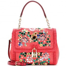 DOLCE&GABBANA - Dolce Medium embellished raffia shoulder bag
