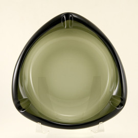 Smoke moss green glass ashtray by Viking at Big Ashtray