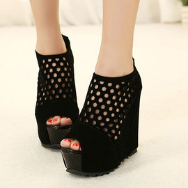 fashion - Image of [grzxy61900269]Peep Toe Cut Out Black Platform Sandal High Wedge Heel Shoes