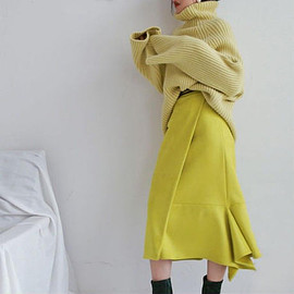 iletelle - lemon suede irregular skirt | iletelle