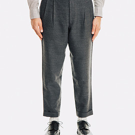 Comoli - Wool Linen Pleated Trousers: Grey