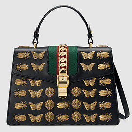 GUCCI - FW2017 Sylvie animal studs leather top handle bag