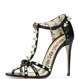 GUCCI - Regina Studded Leather T-Strap Sandal