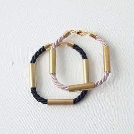 curiouscreaturesshop - Rope Bracelet : Autumn Jewelry - Rope Bracelet with Brass Tubes