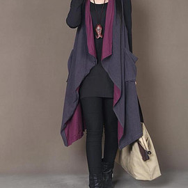 vest - Loose fitting large size Sleeveless coat women Asymmetric Blue + Fuchsia vest