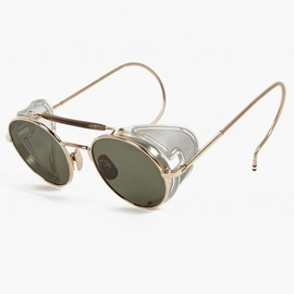 THOM BROWNE - Men's Gold TB-001B-T Round Frame Sunglasses