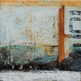Laura Larue - This Way, encaustic mixed media on board