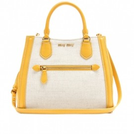 miu miu - LEATHER-TRIMMED CANVAS TOTE Natural+Soleol