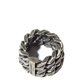 SAINT LAURENT - SILVER DOUBLE CHAIN RING