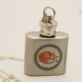 emmagemshop - Silver Flask Necklace,Red Fox,Silver Necklace,Cute,Drink Me,Shot Glass