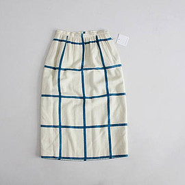 vintage - grid plaid skirt | high waist pencil skirt | white and blue plaid skirt