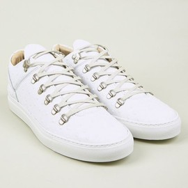 Filling Pieces - Men's White Ostrich Embossed Leather Mountain Cut Sneakers