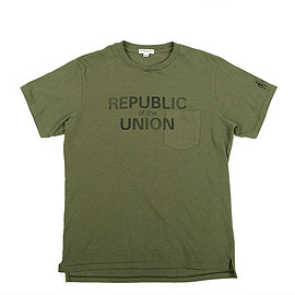 ENGINEERED GARMENTS - Printed Cross Crew Neck T-shirt-Republic-Olive