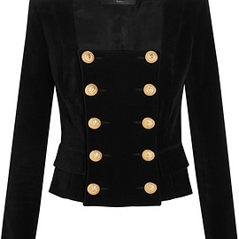 Balmain - Double-breasted velvet jacket