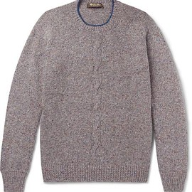 Loro Piana - Contrast-Tipped Mélange Cashmere Sweater