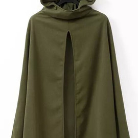 Hooded Loose Green Coat pictures