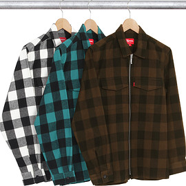 Supreme - Supreme Buffalo Plaid Flannel Zip Shirt