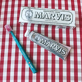 marvis & curaprox - whitening mint tooth paste and tooth brush