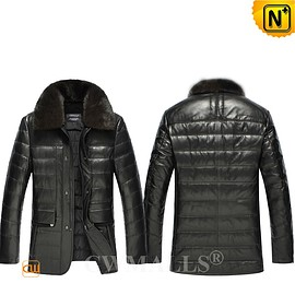 CWMALLS - Calgary Custom Black Quilted Leather Down Jacket CW809220 | CWMALLS.COM