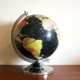Vintage black globe, 1950 Replogle World Globe