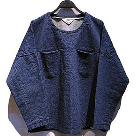 SUNSEA - Pull over 70's nep denim long-Tee